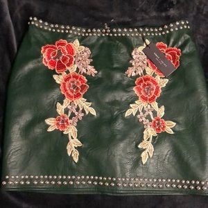 Romantic green faux leather skirt